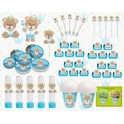 Kit festa Urso Príncipe (azul claro) 99 peças (10 pessoas)