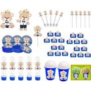 Kit festa Urso Príncipe (azul escuro) 99 peças (10 pessoas)