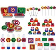 Kit festa Vingadores Símbolos 114 peças (10 pessoas)