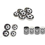 Kit ioiô, mini cofrinho e latinha Futebol (preto e branco ) 60 peças
