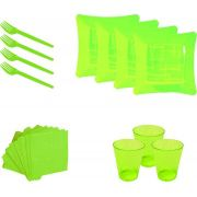 Kit pratinho. copo, garfinho e  guardanapo amarelo (10 pessoas)