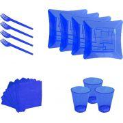 Kit pratinho. copo, garfinho e  guardanapo azul (10 pessoas)