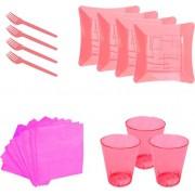 Kit pratinho. copo, garfinho e  guardanapo rosa neon (10 pessoas)