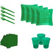 Kit pratinho. copo, garfinho e  guardanapo verde (10 pessoas)