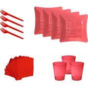 Kit pratinho. copo, garfinho e guardanapo vermelho (10 pessoas)