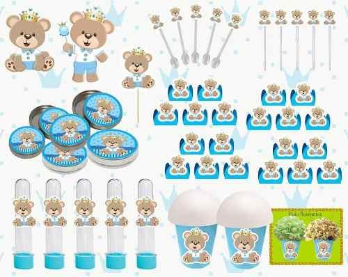 Kit Festa Ursinho Príncipe Azul Claro 143 Peças (20 pessoas)