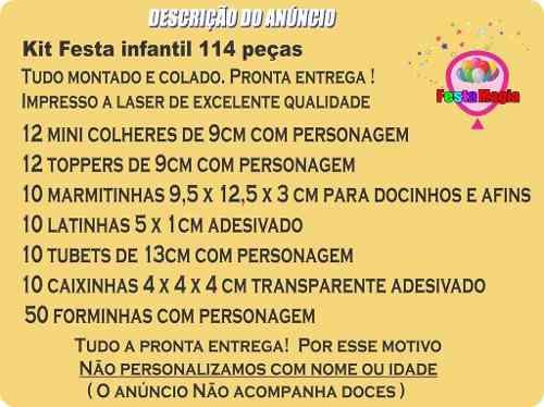 Kit Festa Infantil Chá Revelação 114 Pças (10 pessoas)