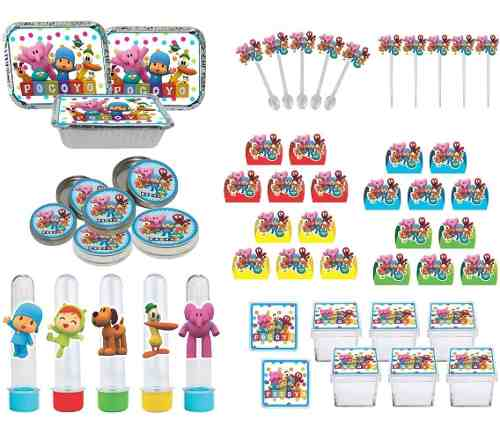 Kit Festa Pocoyo (colorido) 114 Pças (10 pessoas)