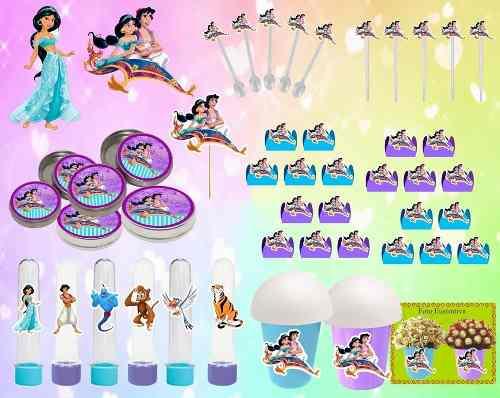 Kit Festa  Aladdin E Jasmine 265 Peças (30 pessoas)
