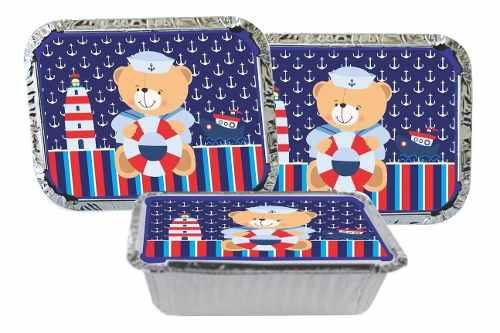 Kit Festa Infantil Urso Marinheiro 110 Peças (10 pessoas)