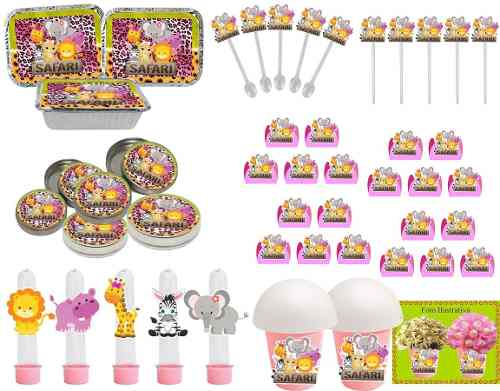 Kit Festa Infantil Safari Menina 106 Peças (10 pessoas)
