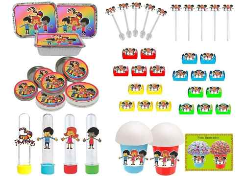 Kit Festa Infantil 3 Palavrinhas 106 Peças (10 pessoas)
