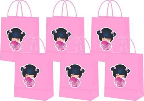 Sacolinhas Boneca Kokeshi Rosa 10 Unidades