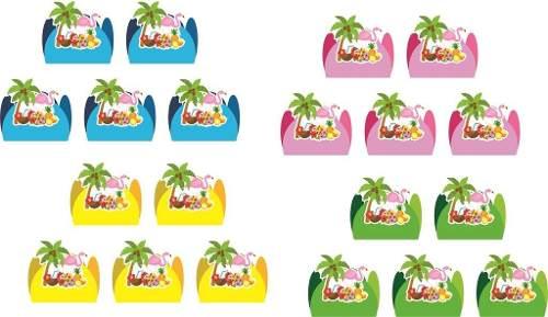 50 Forminhas Flamingo Tropical