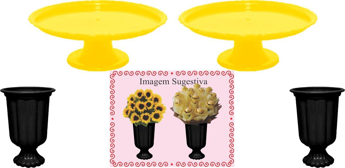 2 mini boleiras e 2 vasos grego amarelo e preto