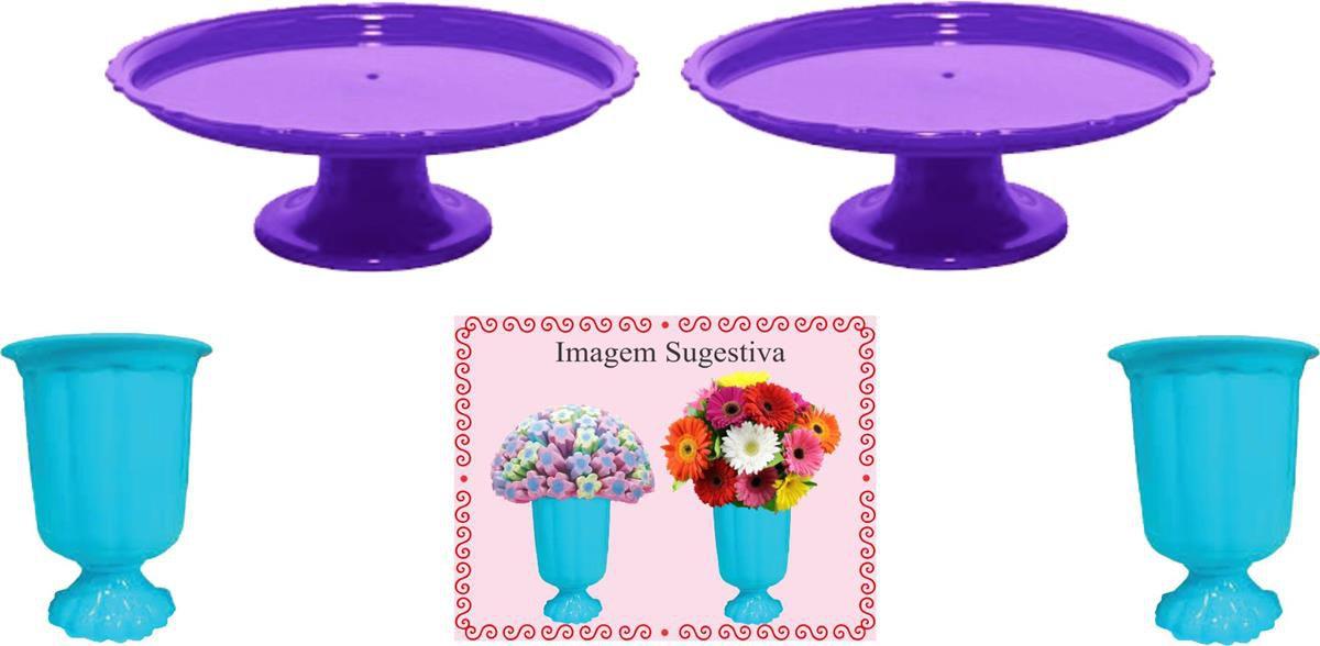 2 mini boleiras e 2 vasos grego azul claro e roxo