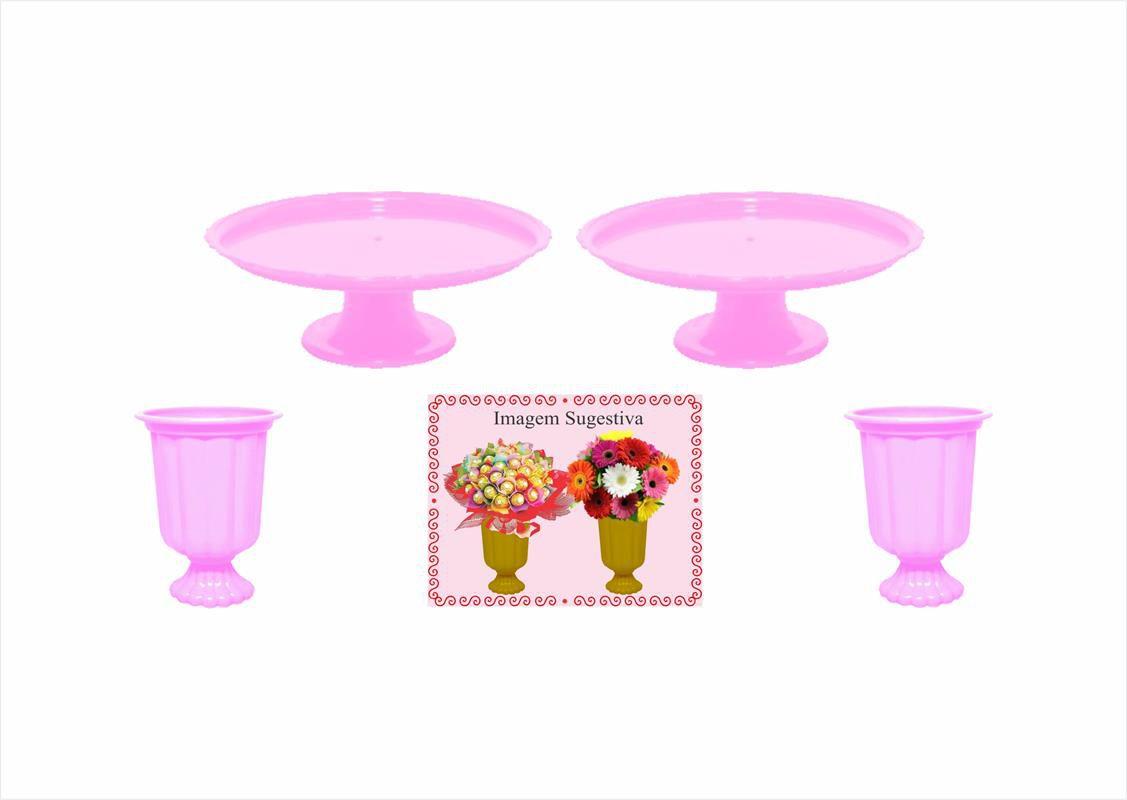 2 mini boleiras e 2 vasos grego rosa