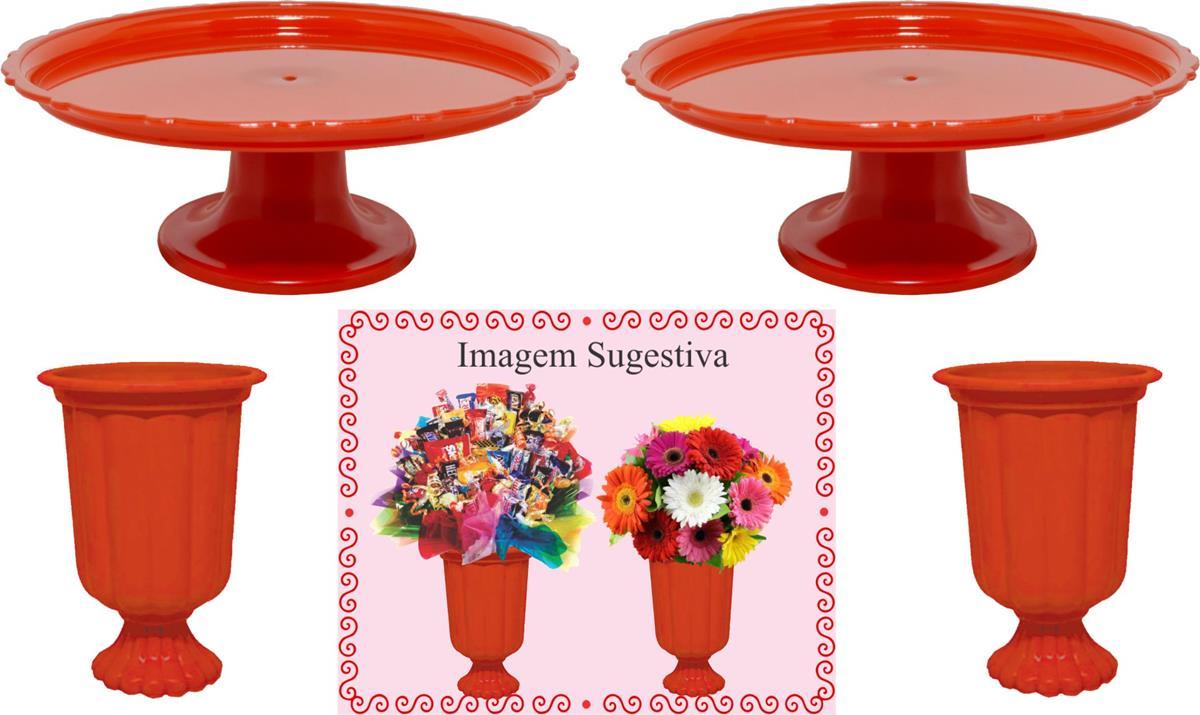 2 mini boleiras e 2 vasos grego vermelho