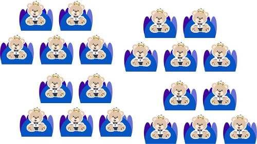 50 Forminhas Ursinho Principe Azul Escuro