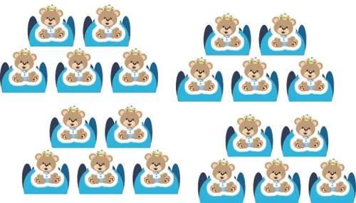 50 Forminhas Urso Príncipe (azul Claro)