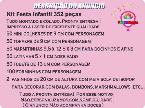 Kit Festa Infantil Bailarina 352 Peças (50 pessoas)