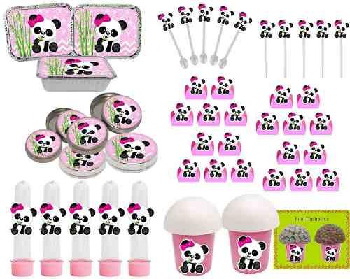Kit Festa Infantil Panda Menina 352 Peças (50 pessoas)
