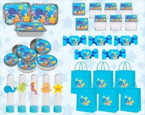 Kit Decorativo Infantil Fundo Do Mar 60 Peças (10 pessoas)