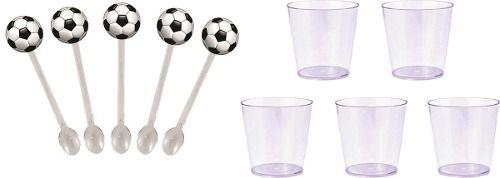 50 Mini Colheres futebol + 50 copinhos transparente 25 ml