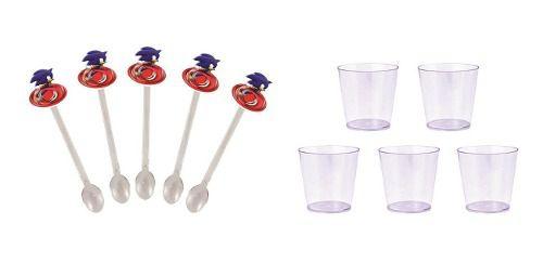 50 Mini Colheres  Sonic + 50 copinhos transparente 25 ml