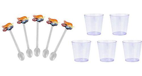 50 Mini Colheres Hot Wheels + 50 copinhos transparente 25 ml
