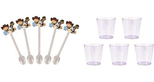 50 Mini Colheres  Fazendinha Menino + 50 copinhos transparente 25 ml