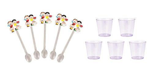 50 Mini Colheres Turma Da Mônica Toy + 50 copinhos transparente 25 ml