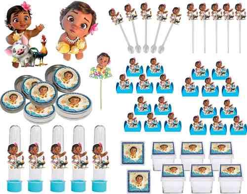Kit Festa Moana Baby 107 Peças (10 pessoas)