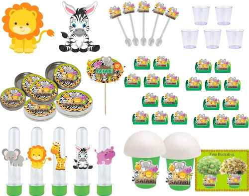 Kit Festa Infantil Safari Menino (verde Escuro) 155 Peças (30 pessoas)