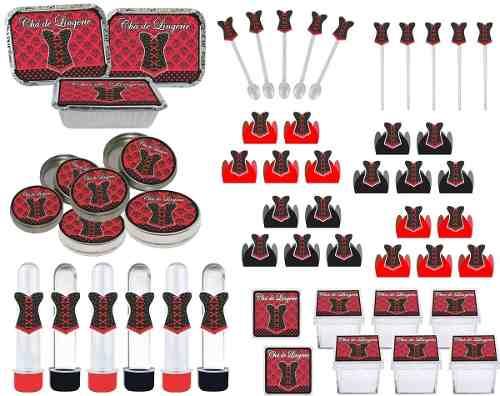 Kit Festa Chá De Lingerie (vermelho E Preto) 178 Peças (20 pessoas)
