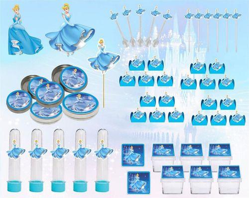 Kit festa Cinderella 107 peças (10 pessoas)