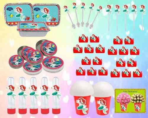 Kit festa A Pequena Sereia (Ariel ) 292 Peças (30 pessoas)