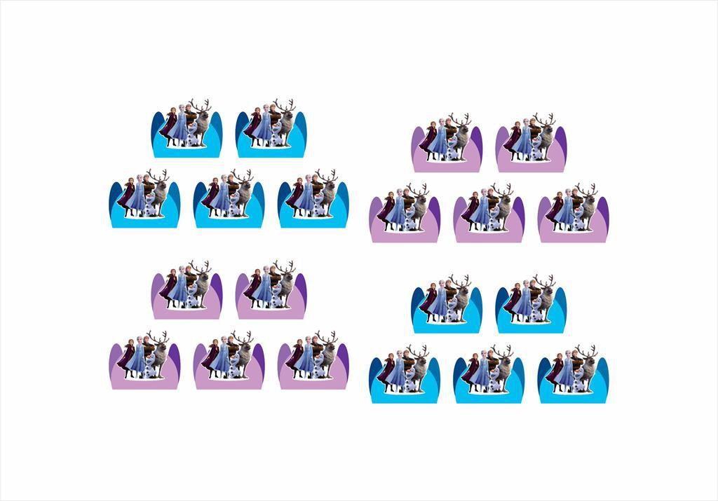 50 forminhas, 50 mini colheres Frozen 2 + 50 copinhos