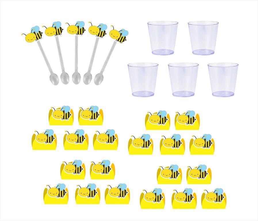 50 forminhas, 50 mini colheres Abelhinha + 50 copinhos
