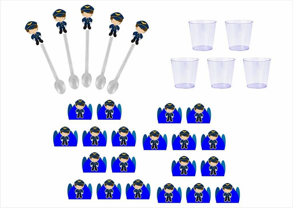 50 forminhas, 50 mini colheres Menino Aviador + 50 copinhos