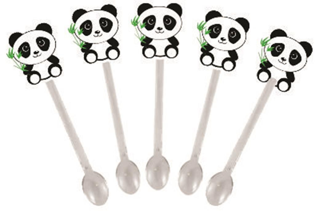 50 forminhas, 50 mini colheres Panda (azul claro) + 50 copinhos
