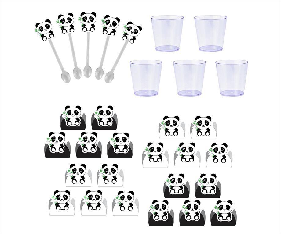 50 forminhas, 50 mini colheres Panda (preto e branco) + 50 copinhos