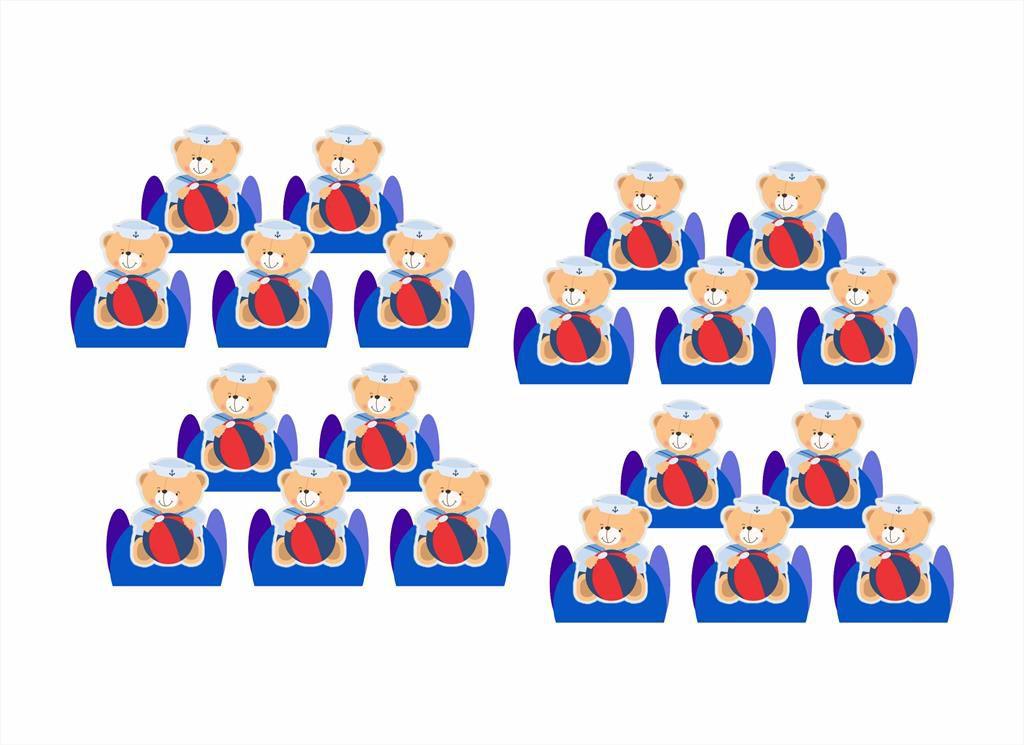 50 forminhas, 50 mini colheres Urso Marinheiro + 50 copinhos