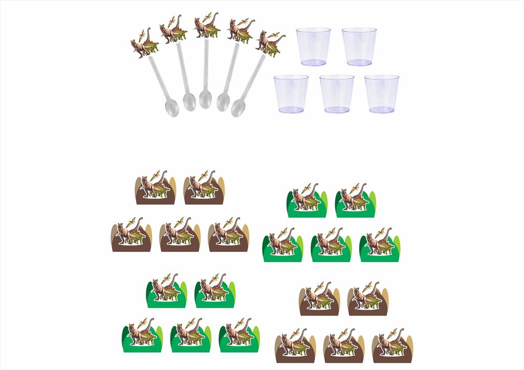 50 forminhas, 50 mini colheres tema Dinossauro Jurassic + 50 copinhos
