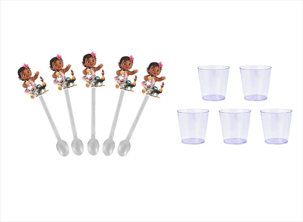 50 Mini Colheres Moana Baby  + 50 copinhos transparente 25 ml