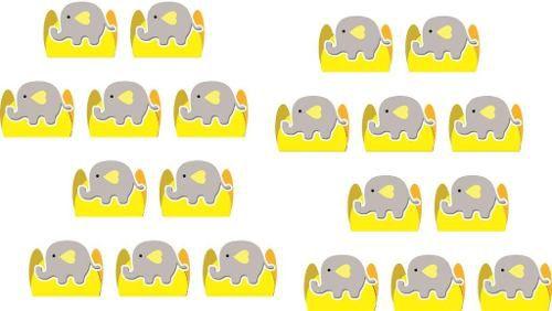 Kit Festa Elefantinho (cinza E Amarelo) 114 Pças (10 pessoas)