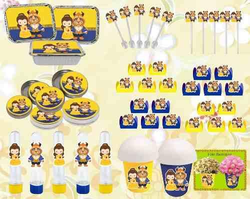 Kit Festa A Bela E A Fera Baby (cute) 160 Peças (20 pessoas)