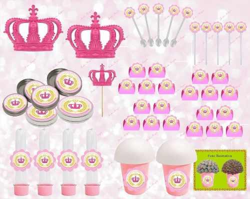 Kit Festa Realeza (coroa Rosa) 265 Peças (30 pessoas)