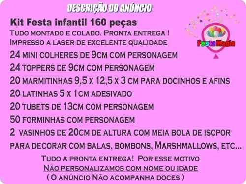 Kit Festa Ursinha Rosa 160 Peças (20 pessoas)