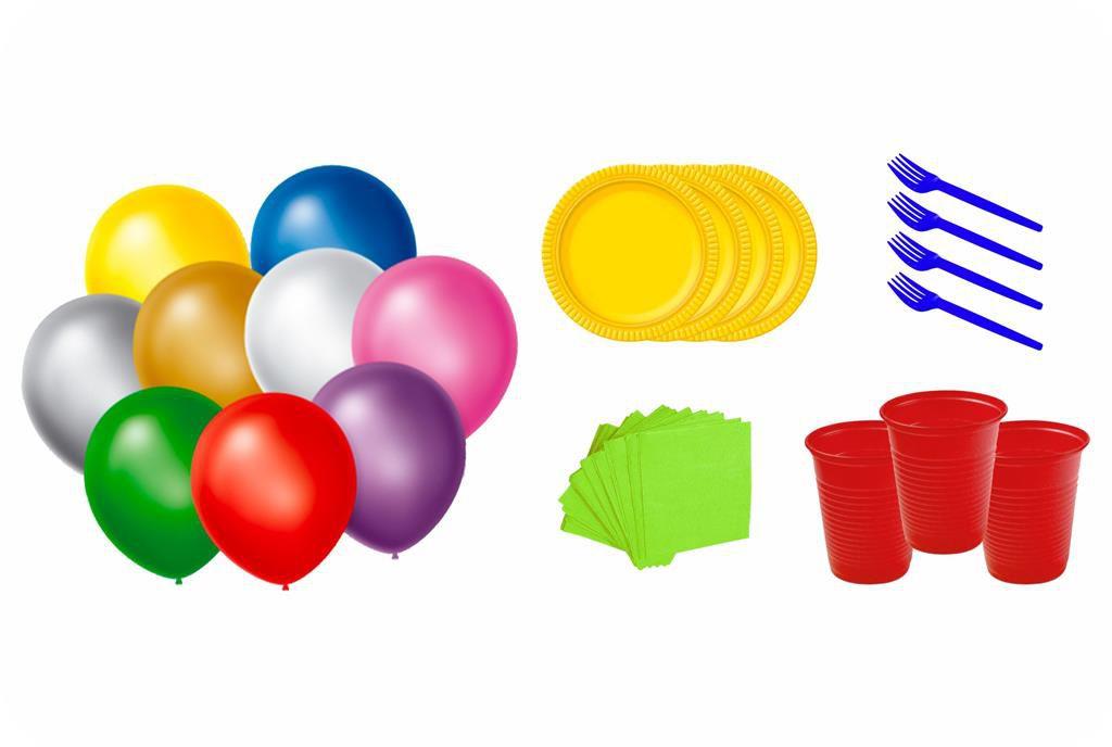 Kit balões, pratinhos, garfinhos, copinhos e guardanapos